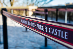 Detail of queue barrier at ticket office in Edinburgh Castle, Scotland, United Kingdom. Crowding has become a problem at this very popular tourist attraction.
