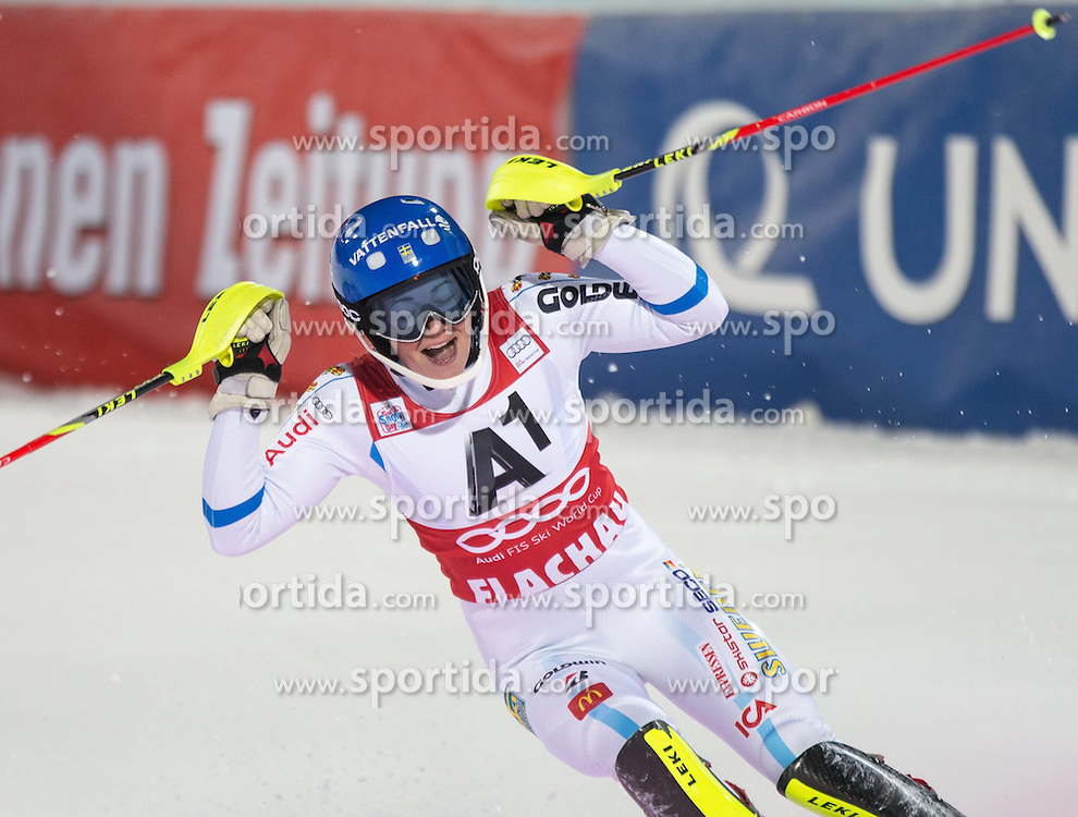 13.01.2015, Hermann Maier Weltcupstrecke, Flachau, AUT, FIS Weltcup Ski Alpin, Flachau, Slalom, Damen, 2. Lauf, im Bild Frida Hansdotter (SWE, 1. Platz) // first placed Frida Hansdotter of Sweden celebrate after her 2nd run of the ladie's Slalom of the FIS Ski Alpine World Cup at the Hermann Maier Weltcupstrecke in Flachau, Austria on 2015/01/13. EXPA Pictures © 2015, PhotoCredit: EXPA/ JOHANN GRODER