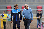 AFC Wimbledon manager Neal Ardley and John Still Manager of Dagenham & Redbridge FC during the Pre-Season Friendly match between Dagenham and Redbridge and AFC Wimbledon at the London Borough of Barking and Dagenham Stadium, London, England on 30 July 2016. Photo by Stuart Butcher.