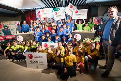 The kids with prize money from Mercator action at press conference of Slovenian Nordic Ski team after seasn 2017-18 with main sponsor Mercator, on March 28, 2018 in Maximarket, Ljubljana, Slovenia. Photo by Matic Klansek Velej / Sportida
