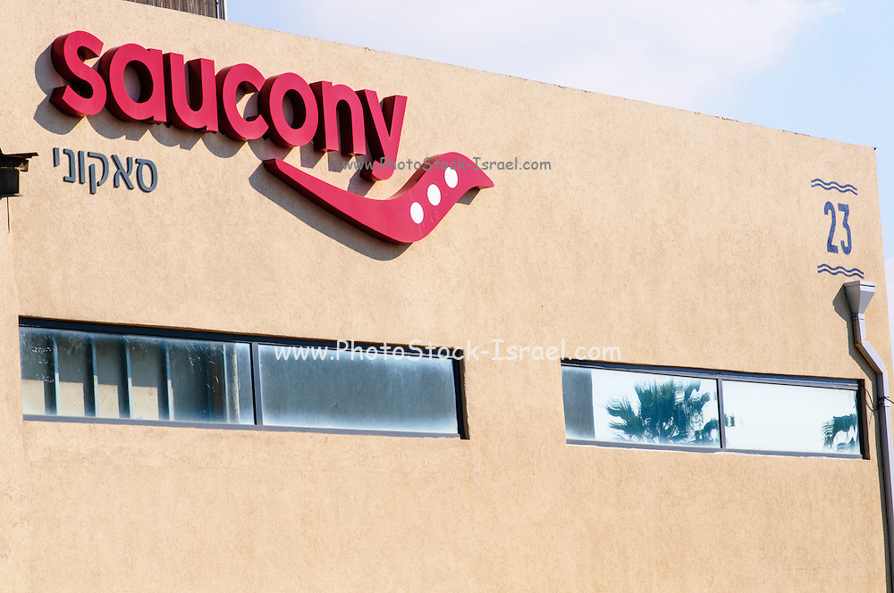 Saucony , logo on shop front Photographed in Tel Aviv, Israel