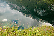 Austria, Upper Austria, Gosau, Lake Gosau in the Dachstein Mountains. The mountains reflecting in the still clear water