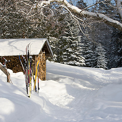 Skis outside a cabin at the AMC's Little Lyford Pond Camps in Maine's Northern Forest.