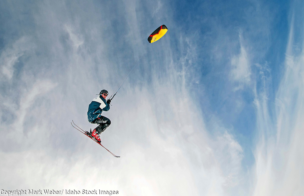 Eddy Petranek Kite skiing on The Camas Pairie near the town of Hill City in central Idaho