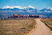 La Sal Mountains. Arches National Park, Moab, Utah, USA.