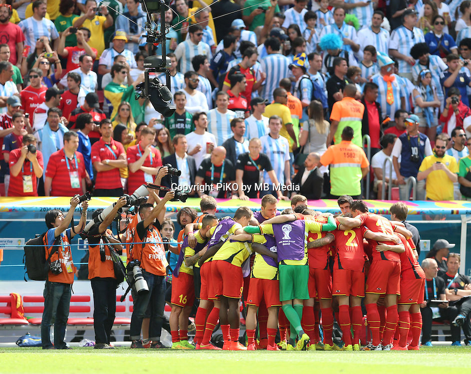 Fifa Soccer World Cup - Brazil 2014 - <br /> ARGENTINA (ARG) Vs. BELGIUM (BEL) - Quarter-finals - Estadio Nacional Brasilia -- Brazil (BRA) - 05 July 2014 <br /> Here Belgian team before starting the match<br /> &copy; PikoPress