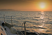 Sailing in the waters of the Mediterranean Sea along the west coast of Italy
