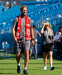 CHARLOTTE, USA - Saturday, July 21, 2018: Liverpool's manager Jürgen Klopp, wearing a supporter's scarf, after a training session at the Bank of America Stadium ahead of a preseason International Champions Cup match between Borussia Dortmund and Liverpool FC. (Pic by David Rawcliffe/Propaganda)