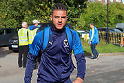 AFC Wimbledon defender Nesta Guinness-Walker (18) arriving for the game during the EFL Sky Bet League 1 match between AFC Wimbledon and Portsmouth at the Cherry Red Records Stadium, Kingston, England on 19 October 2019.