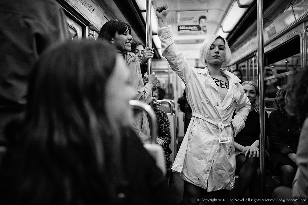 Charlotte poses for a portrait in Parisian subway and the way back from a protest.