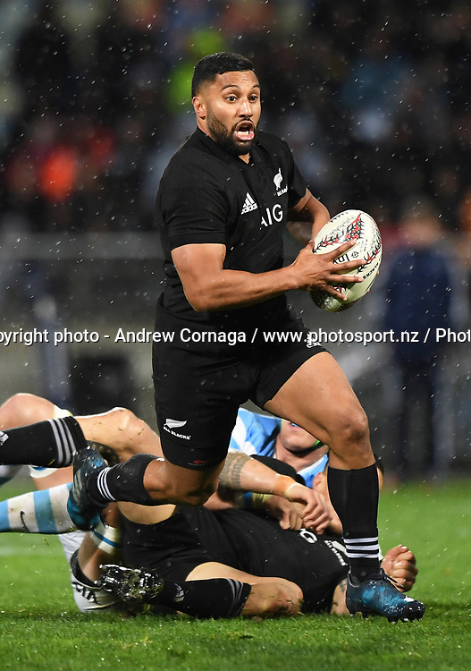 Lima Sopoaga.<br /> Rugby Championship test match rugby union. New Zealand All Blacks v Argentina Los Pumas, Yarrow Stadium, New Plymouth. New Zealand. Saturday 9 September 2017. &copy; Copyright photo: Andrew Cornaga / www.Photosport.nz