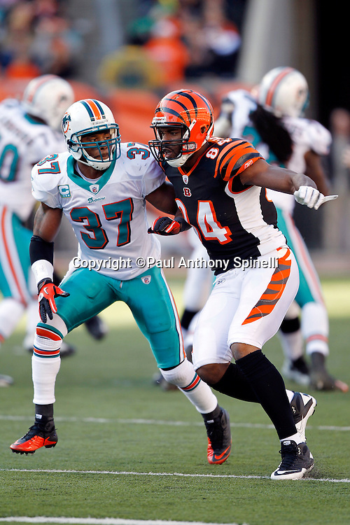 Cincinnati Bengals tight end Jermaine Gresham (84) goes out for a pass while covered by Miami Dolphins safety Yeremiah Bell (37) during the NFL week 8 football game on Sunday, October 31, 2010 in Cincinnati, Ohio. The Dolphins won the game 22-14. (©Paul Anthony Spinelli)