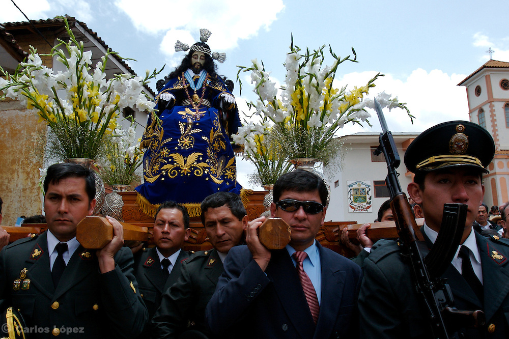 """THE STATUE OF THE LORD OF GUALAMITA """"SENOR DE GUALAMITA"""" COMING OUT FROM THE CHURCH."""
