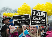 Mary Farnan, of Franciscan University in Steubenville, Ohio, takes part in a rally before the  March for Life in Washington, DC on January 22, 2016. Activists from across the nation participated in the annual pro-life rally protesting abortion and the 1973 Roe v. Wade Supreme Court decision legalizing abortion.  Photo by Molly Riley/UPI