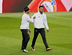 MANCHESTER, ENGLAND - Wednesday, March 16, 2016: Liverpool's Jordon Ibe and Daniel Sturridge during a training session at Old Trafford ahead of the UEFA Europa League Round of 16 2nd Leg match against Manchester United. (Pic by David Rawcliffe/Propaganda)