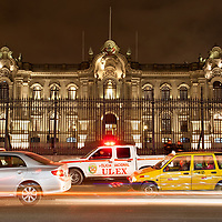 View of the government palace of Peru, taken from the Plaza de Armas.