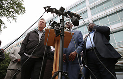 June 28, 2017 - Chicago, IL, USA - Area religious leaders, including from left, the Rev. Michael Pfleger, the Rev. Leon Finney Jr., and the Rev. Marshall Hatch, gather to hold a news conference to discuss the indictment of three Chicago police officers, outside police headquarters in Chicago on Wednesday, June 28, 2017. (Credit Image: © John J. Kim/TNS via ZUMA Wire)