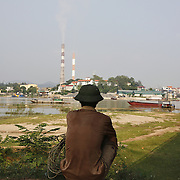 An elderly man watches over his cattle outside the coal-powered electricty plant in Phai Lai, about 70 kilometers east of Hanoi, Vietnam, 14 September, 2007.