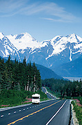 Alaska. Seward Highway. Turnagain Pass and the Chugach Mts. with RV