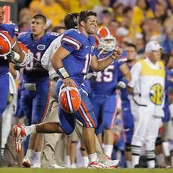 Oct 10, 2009; Baton Rouge, LA, USA; Florida Gators quarterback Tim Tebow (15) reacts on the sidelines after the LSU Tigers turn the ball over on downs in the fourth quarter at Tiger Stadium. Florida defeated LSU 13-3. Mandatory Credit: Derick E. Hingle-US PRESSWIRE