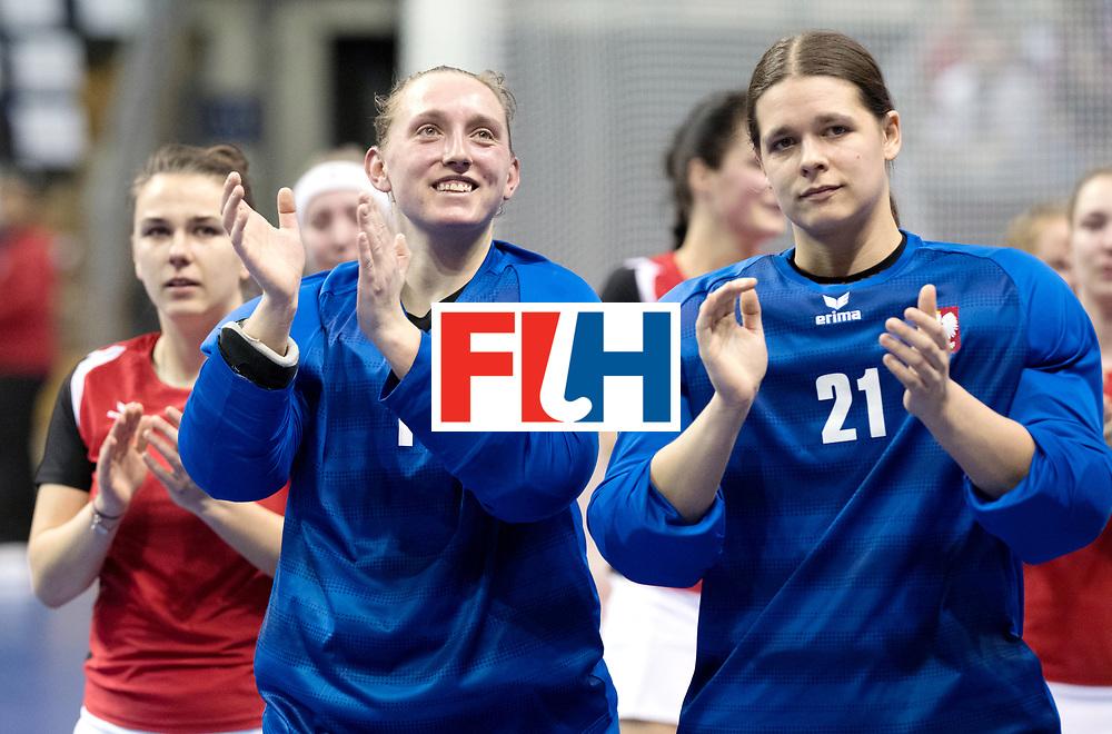 BERLIN - Indoor Hockey World Cup<br /> Quarterfinal 3: Germany - Poland<br /> foto: NOWICKA Dominika and KUCHARSKA Marta.<br /> WORLDSPORTPICS COPYRIGHT FRANK UIJLENBROEK