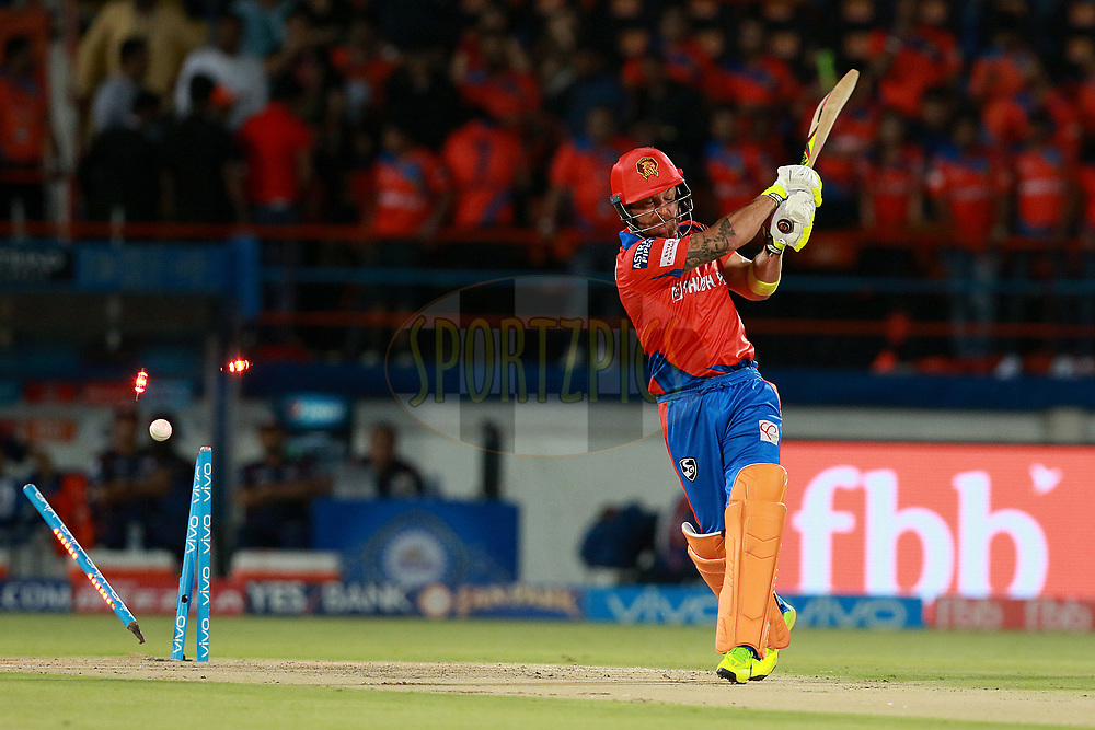 Brendon McCullum of Gl gets out during match 35 of the Vivo 2017 Indian Premier League between the Gujarat Lions and the Mumbai Indians  held at the Saurashtra Cricket Association Stadium in Rajkot, India on the 29th April 2017<br /> <br /> Photo by Rahul Gulati - Sportzpics - IPL