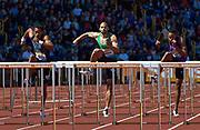 Cuba's Orlando Ortega (left) beats Garfield Darien (centre) to the line during the Sainsbury's Birmingham Grand Prix IAAF Diamond League Meeting at Alexandra Stadium, Birmingham, West Midlands, England on June  07  2015. (Steve Flynn/IOS via AP)