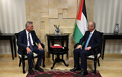 October 3, 2018 - Ramallah, West Bank, Palestinian Territory - Palestinian Prime Minister Rami Hamdallah meets with the representative of Germany to Palestine, Kristan Klags, in the West Bank city of Ramallah on October 3, 2018  (Credit Image: © Prime Minister Office/APA Images via ZUMA Wire)