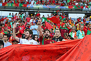 Portugal fans with large flag during the Euro 2016 final between Portugal and France at Stade de France, Saint-Denis, Paris, France on 10 July 2016. Photo by Phil Duncan.