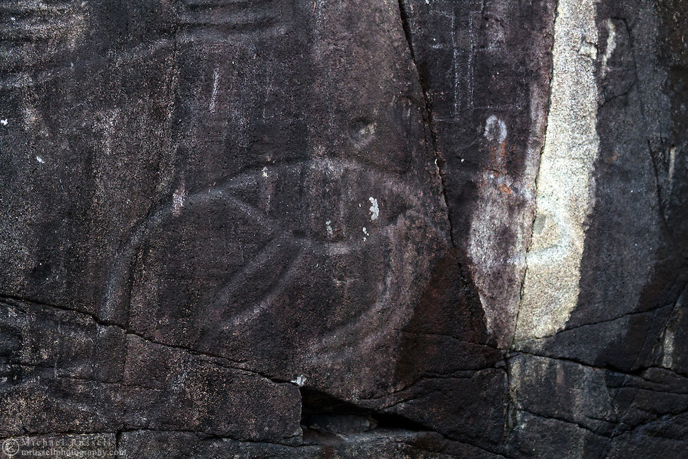 Petroglyph carved into a rock face on Vancouver Island, British Columbia, Canada