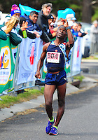 CAPE TOWN, SOUTH AFRICA - OCTOBER 10: Mtunzi Mnisi if AGN finishes second in the mens 50km during the South African Race Walking Championship at Youngsfield Military Base on October 10, 2015 in Cape Town, South Africa. (Photo by Roger Sedres/ImageSA)
