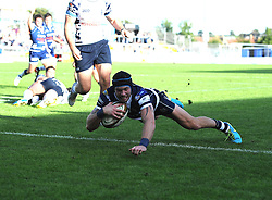 Bristol Rugby's Ryan Edwards scores - Photo mandatory by-line: Joe Meredith/JMP - Tel: Mobile: 07966 386802 06/10/2013 - SPORT - FOOTBALL - RUGBY UNION - Memorial Stadium - Bristol - Bristol Rugby V Bedford Blues - The Championship