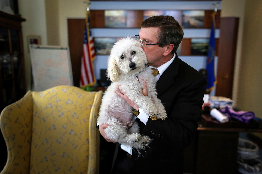 U.S. Senator Kent Conrad (D-ND) and his dog Dakota were fixtures at the U.S. Capitol before Conrad retired at the end of his term in 2012. Dakota made his exit with the senator as his offices were packed up at the end of his 26-year senate career.