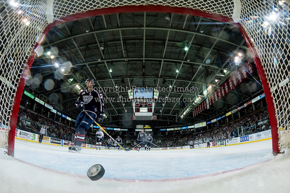 KELOWNA, CANADA - MARCH 4: The Kelowna Rockets score an empty net goal during the third period against the Tri-City Americans on March 4, 2017 at Prospera Place in Kelowna, British Columbia, Canada.  (Photo by Marissa Baecker/Shoot the Breeze)  *** Local Caption ***