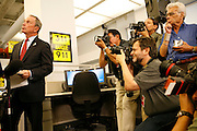 New York City Mayor Michael Bloomberg holds a press conference at the 311 call center, Wednesday, June 20, 2007, in New York, one day after quitting the Republican Party and registering as unaffiliated.