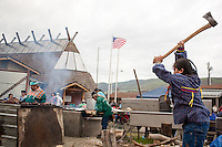 Yakima and Warm Springs Indians have an Easter festival to honor the beginning of Salmon fishing season in Celilo, Oregon.