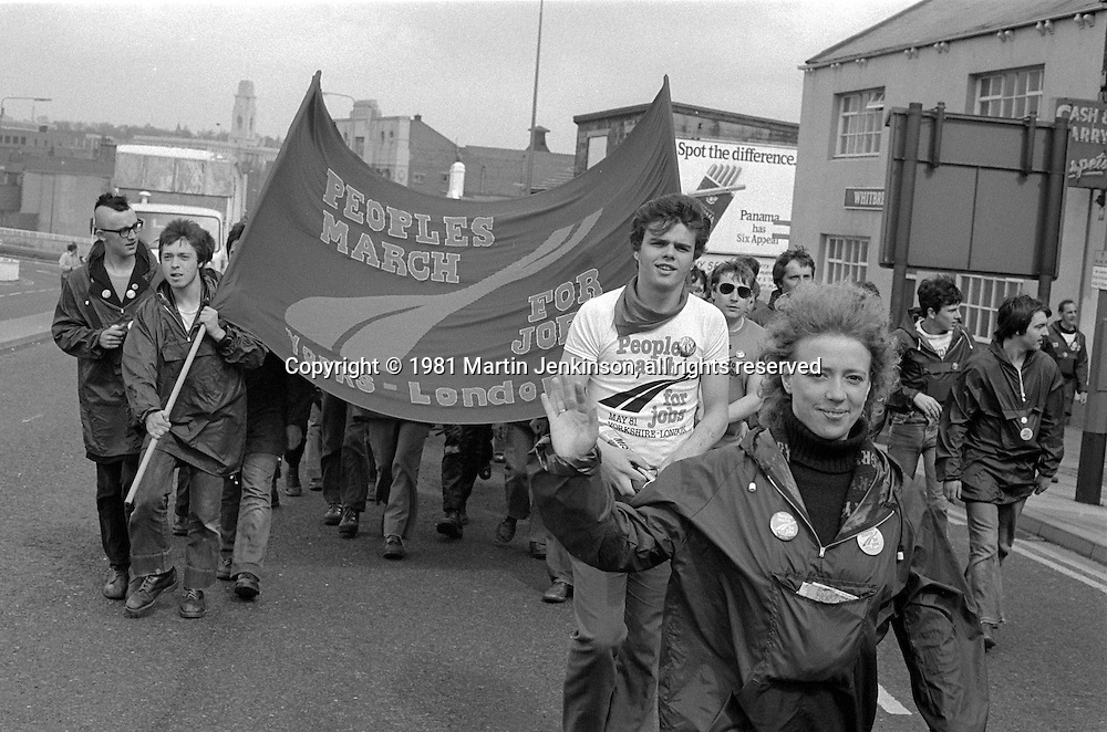 People's  March for Jobs, Yorkshire to London. Barnsley to Rotherham 07/05/1981