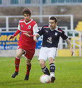 Dundee's Ryan Conroy and Stirling Albion's Darren Smith - Stirling Albion v Dundee, William Hill Scottish Cup third round at the Doubletree Dunblane Stadium. .- © David Young -.5 Foundry Place - .Monifieth - .Angus - .DD5 4BB - .Tel: 07765 252616 - .email: davidyoungphoto@gmail.com - .http://www.davidyoungphoto.co.uk