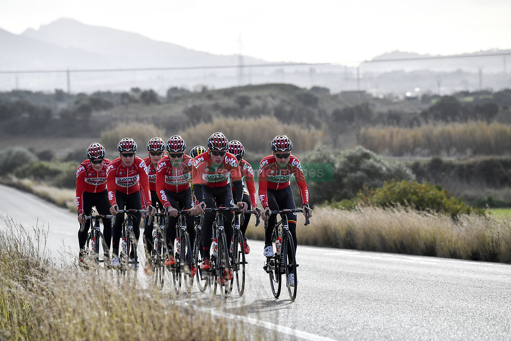 December 15, 2017 - Majorca, SPAIN - Lotto Soudal riders pictured in action during a press day during Lotto-Soudal cycling team stage in Mallorca, Spain, ahead of the new cycling season, Friday 15 December 2017. BELGA PHOTO DIRK WAEM (Credit Image: © Dirk Waem/Belga via ZUMA Press)
