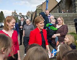 SNP Leader Nicola Sturgeon at a children's Easter weekend chocolate bunny hunt at the Andrew Carnegie Birthplace Museum.