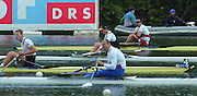 Lucerne, SWITZERLAND,  Men's Single final. Top of the picture.  CAN1. M1X Derek PORTER, NZL M1X Rob WADDELL.GER1 M1X Marcel HACKER and CZE M1X Vaclav CHALUPA Jr . 2000 FISA World Cup, Rotsee Rowing Course, June 2000.  [Mandatory Credit, Peter Spurrier/Intersport-images]... 2000 FISA World Cup, Lucerne, SWITZERLAND