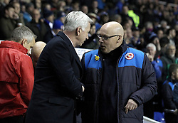 Crystal Palace Manager Alan Pardew shakes the hand of Reading Manager Brian McDermott - Mandatory byline: Robbie Stephenson/JMP - 11/03/2016 - FOOTBALL - Madejski Stadium - Reading, England - Reading v Crystal Palace - Emirates FA Cup Quarter Final