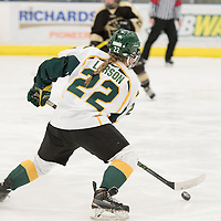 5th year defender Alexis Larson (22) of the Regina Cougars  of the Regina Cougars  in action during the Women's Hockey home game on January 7 at Co-operators arena. Credit: Arthur Ward/Arthur Images