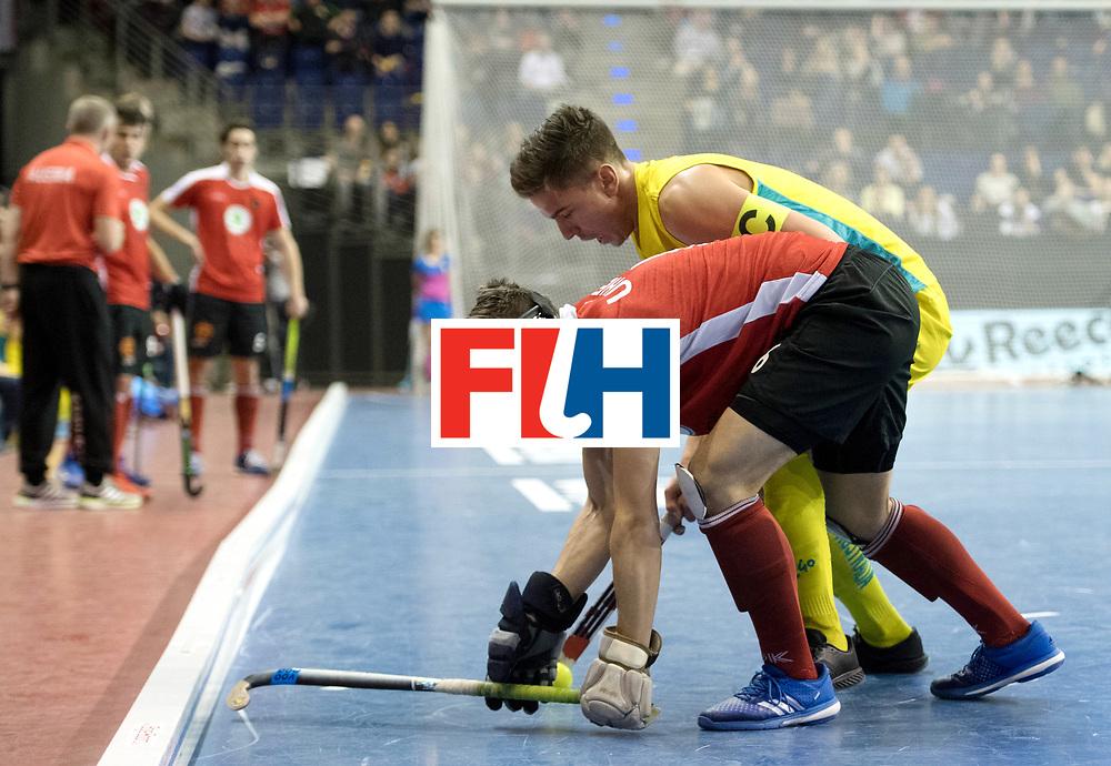 BERLIN - Indoor Hockey World Cup<br /> SF2 Australia - Austria<br /> foto: Heath Ogilvie and Michael K&ouml;rper <br /> WORLDSPORTPICS COPYRIGHT FRANK UIJLENBROEK