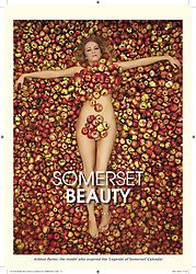 ***STORY IN LINK AT END OF CAPTION*** © Licensed to London News Pictures. 31/05/14. Somerset, UK Ashton Porter of Street pictured in Cider apples - The inspiration for The Legends of Somerset calendar. The calendar is raising money for Macmillan Cancer Care. FULL STORY HERE http://www.wellsjournal.co.uk/Make-date-Somerset-Legends-2014/story-20077404-detail/story.html. Photo credit : Jason Bryant/LNP