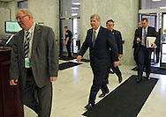 Agriculture Secretary Tom Vilsack walks into the building to testify before the House Appropriations Agriculture subcommittee on the USDA's fiscal 2014 budget proposal in the Rayburn House Office Building in Washington, DC on Tuesday, April 16, 2013.