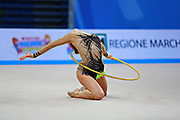 Jung Laura during qualifying at hoop in Pesaro World Cup 10 April 2015. Laura is a German rhythmic gymnastics athlete born on June 25, 1995 in St. Wendel, Germany.
