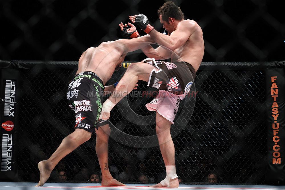"DUBLIN, IRELAND, JANUARY 17, 2009: Dan Henderson (left) and Rich Franklin during ""UFC 93: Franklin vs. Henderson"" inside the O2 Arena in Dublin, Ireland"