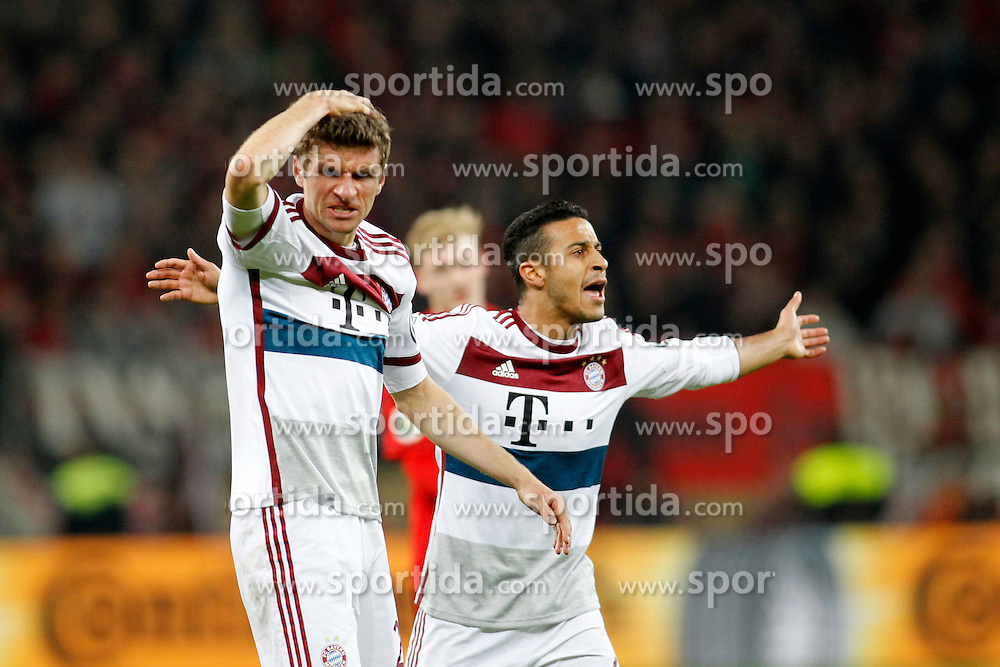 08.04.2015, BayArena, Leverkusen, GER, DFB Pokal, Bayer 04 Leverkusen vs FC Bayern Muenchen, Viertelfinale, im Bild Thomas Mueller (FC Bayern Muenchen #25) und Thiago Alcantara (FC Bayern Muenchen #6) // during the German DFB Pokal quarter final match between Bayer 04 Leverkusen and FC Bayern Munich at the BayArena in Leverkusen, Germany on 2015/04/08. EXPA Pictures &copy; 2015, PhotoCredit: EXPA/ Eibner-Pressefoto/ Schueler<br /> <br /> *****ATTENTION - OUT of GER*****