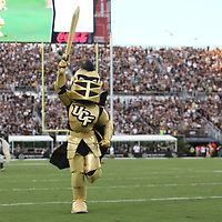 ORLANDO, FL - AUGUST 29: UCF mascot Knightro is seen during a NCAA football game between the Florida A&M Rattlers and the UCF Knights on August 29 2019 in Orlando, Florida. (Photo by Alex Menendez/Getty Images) *** Local Caption *** Knightro
